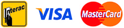 We accept Visa, Mastercard and Interac